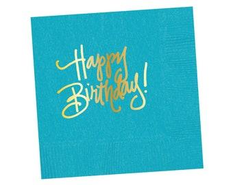 Napkins | Happy Birthday - Bright Blue