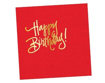 Napkins   Happy Birthday - Red (in stock)
