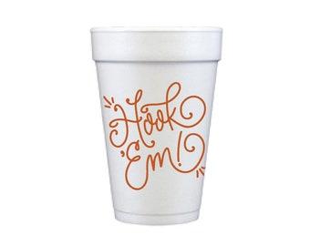 HOOK 'EM | Foam Cups (burnt orange)