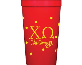 Chi Omega with Dots | Stadium Cups (Qty 8)