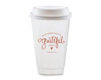 To-Go Coffee Cups | Grateful Heart (pumpkin)