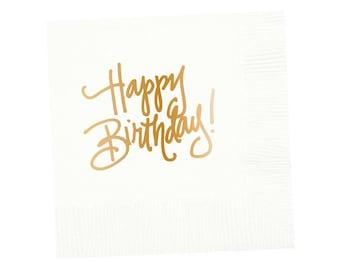 Napkins | Happy Birthday - White (in stock)