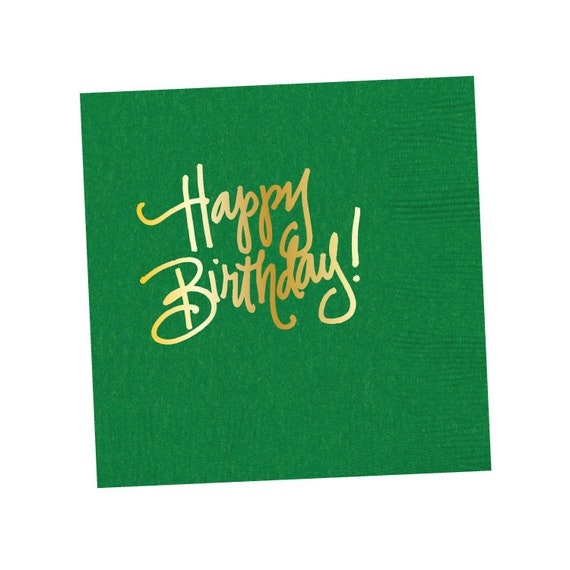 Napkins Happy Birthday Kelly Green In Stock Etsy