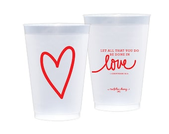 Frosted Plastic Cups | Love Scripture (red)