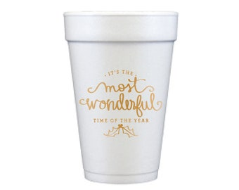 Foam Cups | Most Wonderful Time of the Year (gold)