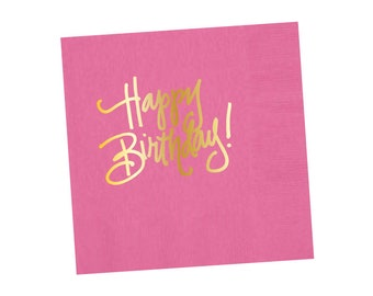 Napkins | Happy Birthday - Happy Pink (in stock)