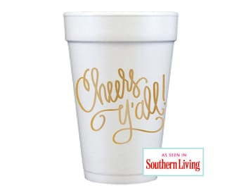 Foam Cups | Cheers Y'all! (gold)