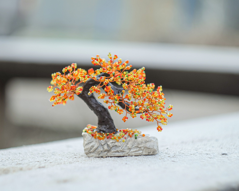TRE1 Beaded Feng Shui Wire Tree Sculpture Bonsai Miniature Money Tree Statue Doll House Minimalist Home Decor