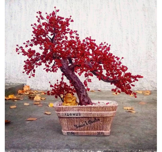 Beaded Artificial Autumn Red Bonsai Tree Miniature Tree Etsy