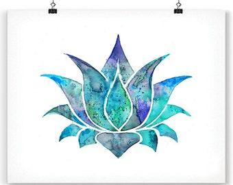Blue Lotus Art Print Om Watercolor Poster, Watercolor Yoga Art, Om Art, Flower Wall Decor, Buddha Home Wall Decor - F296