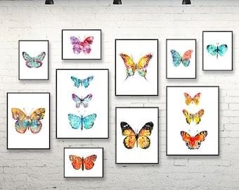 Lovely Watercolor Butterflies Art Print Set Watercolor Painting, Butterfly Wall Art,  Butterflies Decor, Colorful Home Decor, Set Of 10 Prints   S51