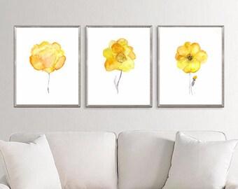 Flower art etsy yellow flowers art print watercolor flowers flower art floral art botanical art yellow wall decor minimalist decor s59 mightylinksfo