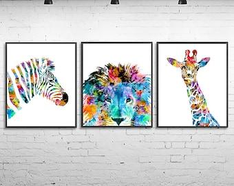 Kids animal prints watercolor nursery prints, giraffe print zebra print lion print, jungle wall art, childrens decor, set of 3 prints - S125