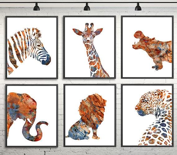 watercolor animals print african animal art print jungle etsy