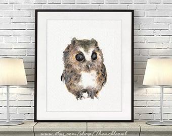 Baby owl print, watercolor owl painting, baby nursery animal, woodland animal nursery baby wall art nursery gift - R39