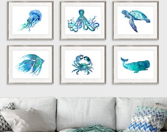 Nursery nautical prints beach wall decor ocean art prints blue coastal decor nautical baby shower coastal decor, set of 6 prints - S4