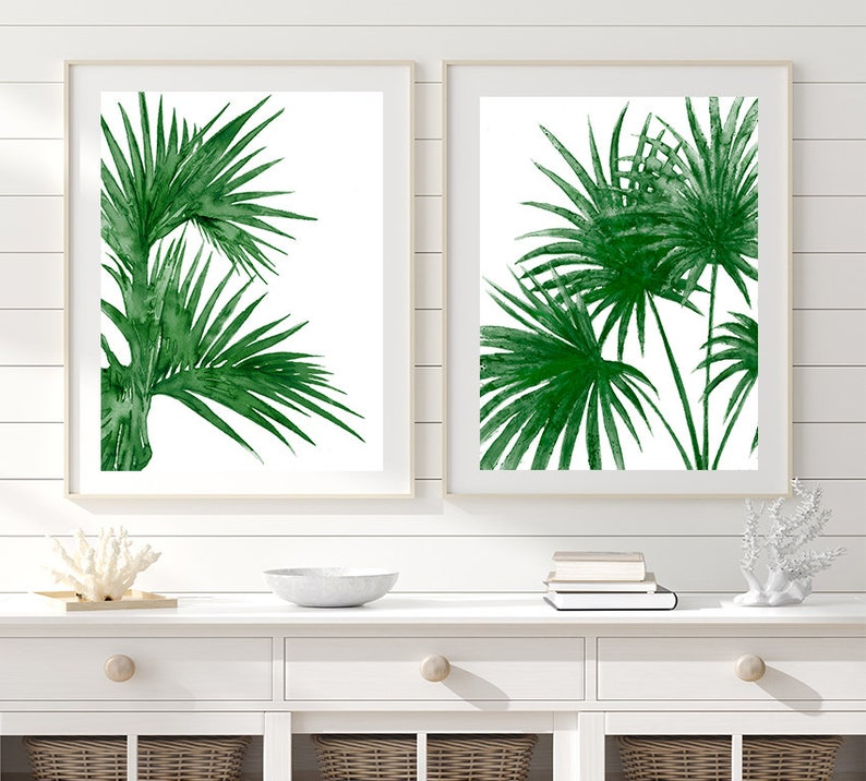 Green Tropical Leaves Wall Print Watercolor Painting Leaf Art Print Green Decor Nature Art Green Wall Art Set Of 2 Prints N6 100