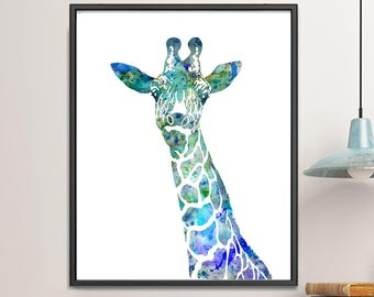 Blue Giraffe Watercolor Painting, Animal Art, Watercolor Print, Children's Wall Decor, Kids art Print, Kids Room Decor - 127