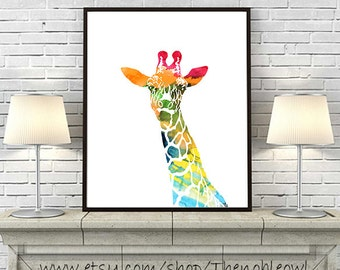 Giraffe print, watercolor print, nursery giraffe, colorful wall art, kids room decor, safari nursery, animal watercolor - H138