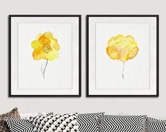 Yellow art print yellow watercolor flowers, watercolor floral wall art, flower print yellow orange decor, floral home decor, Set of 2 - 11/6