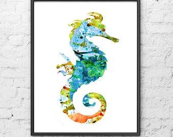 Nautical Art Print Seahorse Watercolor Painting - Home Decor - 250