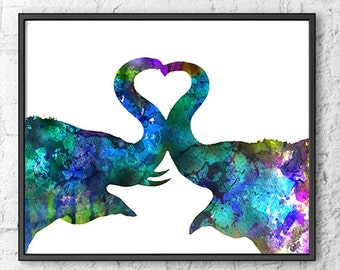 Love Art Watercolor Elephant Painting, Animal Wall Decor, Kiss Art, Blue Watercolor Art Print, Animal Art Illustration - 438A