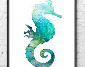 Blue Seahorse Art Print Watercolor Painting, Sea Life Wall Art, Ocean Print - 252