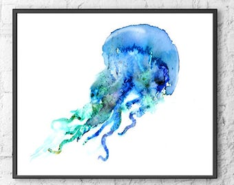 Watercolor Jellyfish print, jellyfish art, ocean art, blue nautical print, bathroom wall art, ocean theme, beach wall decor - F217
