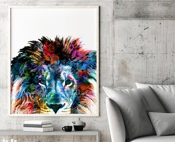 Nursery Lion Print Lion Art African Art Safari Decor Animal Art Animal Print Colorful Print Modern Decor Jungle Art Jungle Print H326