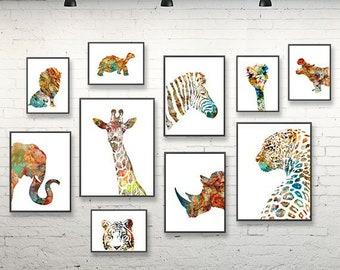 Animal art print watercolor prints set nursery animals wall art, kids room decor watercolor painting of animals safari decor jungle art -S45