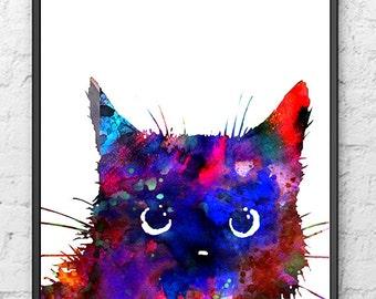 Colorful cat art print, modern art watercolor painting print, cat illustration, children wall art, purple home decor - 434