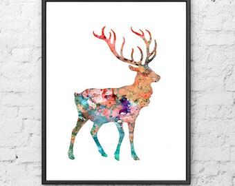 Deer art, deer print, deer poster, deer illustration, watercolor painting deer, woodland animal - 100