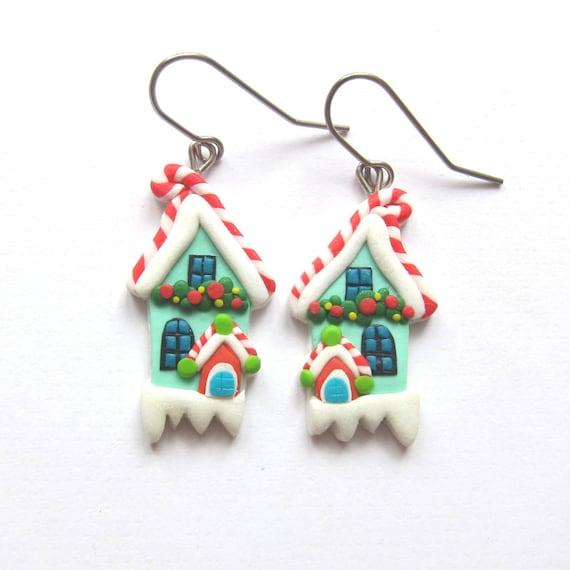 Santa Earrings  Holiday Gifts  Christmas Gifts  Stocking stuffers idea  Santa Jewelry  Christmas Earrings Dangle Holiday Earrings