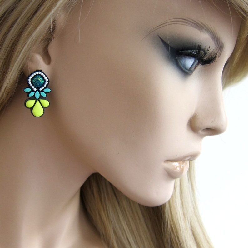 Teal Earrings Polymer Clay Earrings Neon Jewelry Neon Earrings Bold Jewelry Big Stud Earrings Neon Statement Earrings Modern Earrings