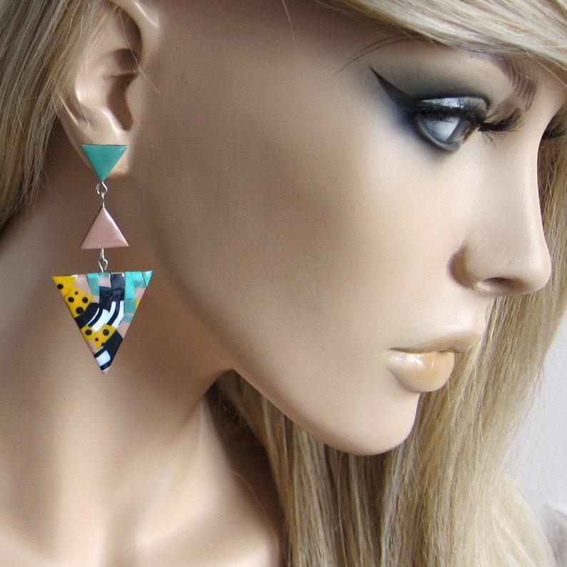 Big Earrings Statement Earrings Sage Green Earrings Triangle Earrings Big Geometric Earrings Brown Earrings Eye Catching Earrings