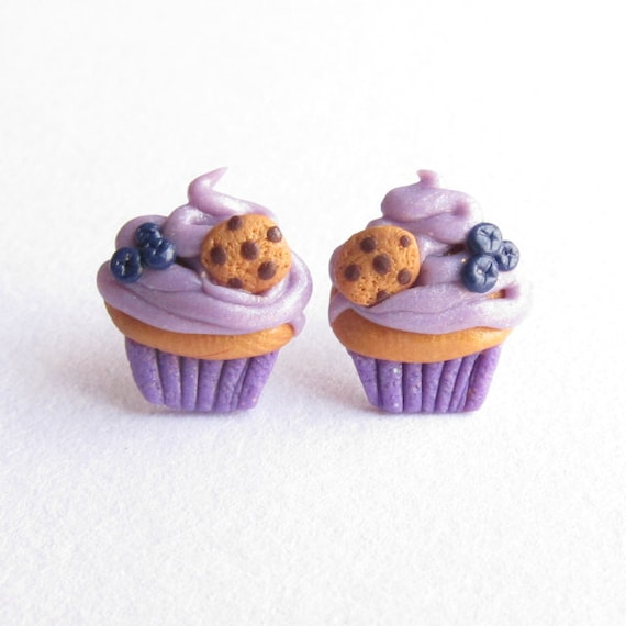 Handmade Miniature Food Pink Donut Brown Coffee Small Stud Emo Earrings Jewelry