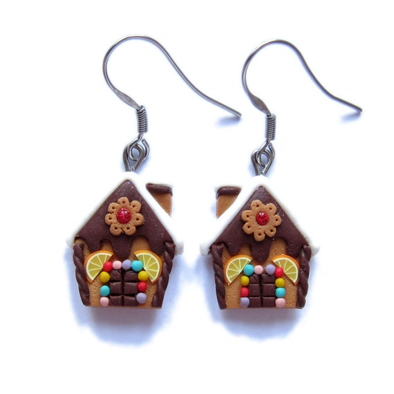 Polymer Clay Christmas Jewelry.Funny Earrings Christmas Jewelry Chocolate Gingerbread House Earrings Polymer Clay Earrings Miniature Food Earrings Christmas Gifts