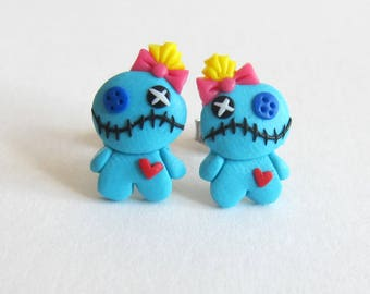 Funny Earrings, Lilo and Stitch Costume, Voo Doo Doll, Voodoo Doll Stud Earrings, Voodoo Earrings, Scrump Earrings, Scrump Doll, Blue Doll