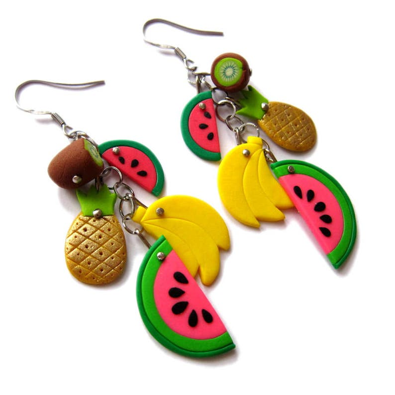 Fruit Earrings Banana Earrings Pineapple Earrings Colorful Earrings Pop Art Banana Jewelry Watermelon Earrings Statement Earrings