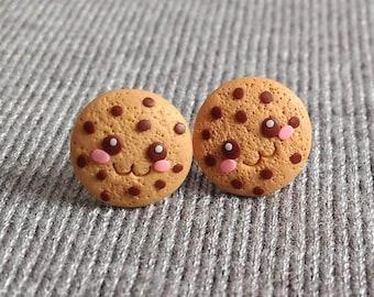 Polymer Clay Earrings, Miniature Food Earrings, Kawaii Cookies Earrings, Funny Jewelry, Small Stud Earrings, Girls Earrings Handmade Jewelry