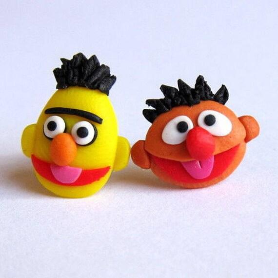 Bert And Ernie Character Earrings, Sesame Street Earrings, The Muppet Show  Cartoon Earrings, Gift Idea, Girls Jewellery, Childrens Jewellery