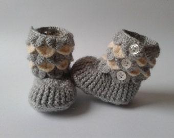Crocodile Stitch  Baby Booties/ Crochet Baby boots Crocodile Stitch