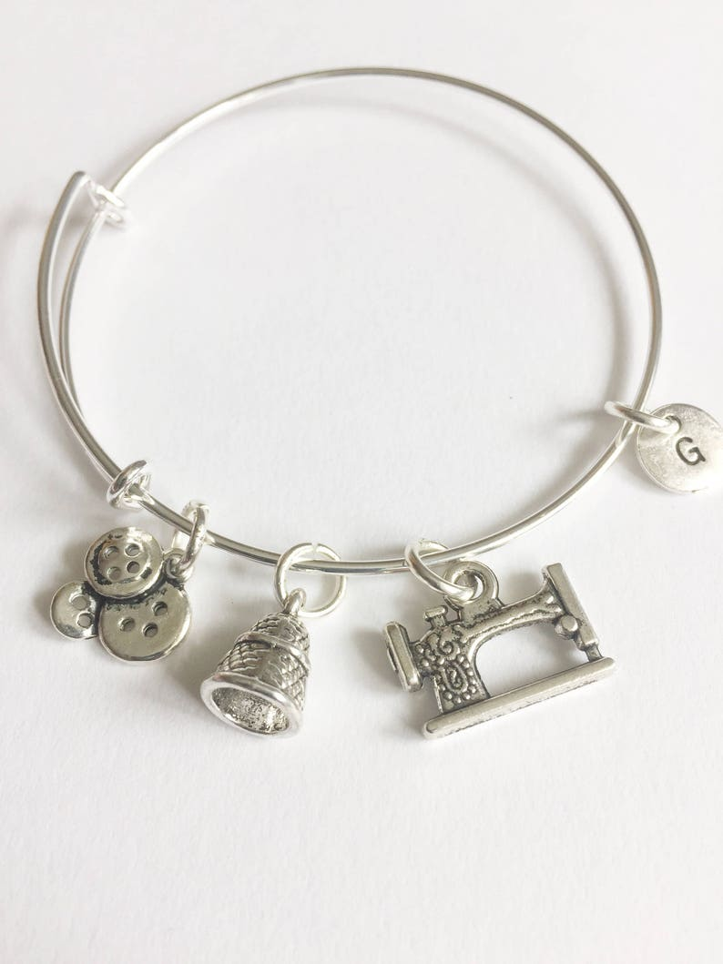 Personalised Gift Sewing Charm Gift for sewing queen Seamstress Charm Bangle Sewing Theme Bracelet Gift for Seamstress Dressmaker gift