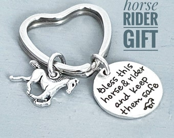 Horse Rider Keyring, Bless This Horse and Rider Horse Gift for Her, Horse Lover Present, Horse Owner 21st 40th 40th Birthday Letterbox Gift