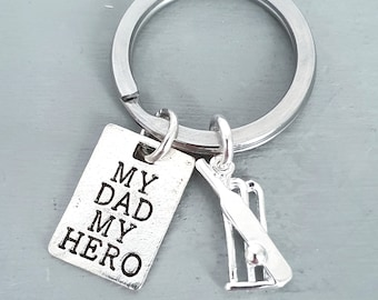 Personalised Hero Dad Cricket Keyring, Cricketers Keychain, Dad Gift, Cricket Mad Dad, Father's Day Letterbox Pocket Hug, Dad Birthday Gift