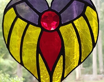 Angel in Purple and Yellow glass, Red glass jewel and red body, stained glass suncatcher handmade