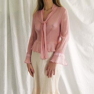 90s silk button down blush pink blouse
