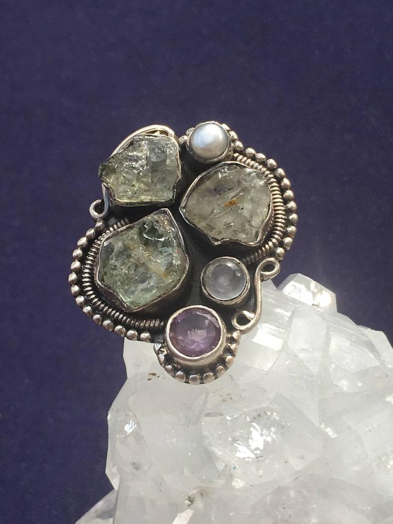 6 and Freshwater Pearl Handmade Boho 92.5 Silver Ring US Size Moonstone Amethyst Chrysoberyl