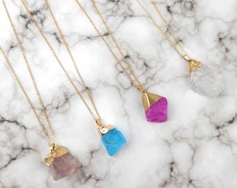 Quartz, Quartz Necklace, Crystal Necklace, Gemstone Necklace, Pendant Necklace, Boho Necklace, Crystal Quartz, Crystal Pendant, Gift For Her