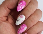 GK Nails Pink Coffee Lovers Waterslide Nail Decals